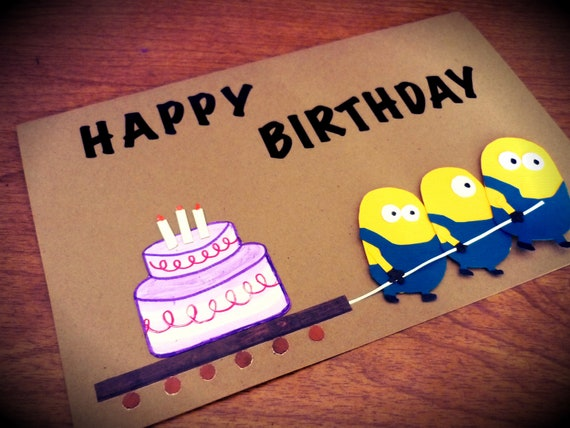 Despicable Me Happy Birthday Card with mounted minions with a Birthday Cake