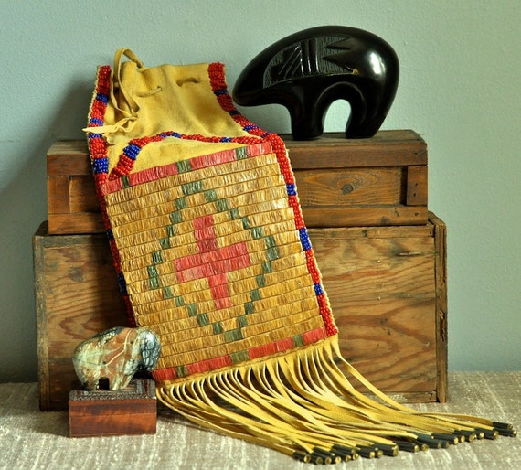 Vintage Native American Crow Nation Beaded Medicine Bag
