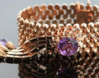 Antique Bracelet - Antique Amethyst Bracelet - 14K Rose Gold
