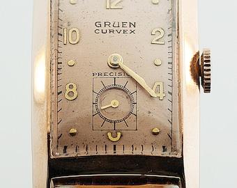 Vintage Watch - Vintage Gruen Curvex Sovereign 14k Rose Gold Strap Watch