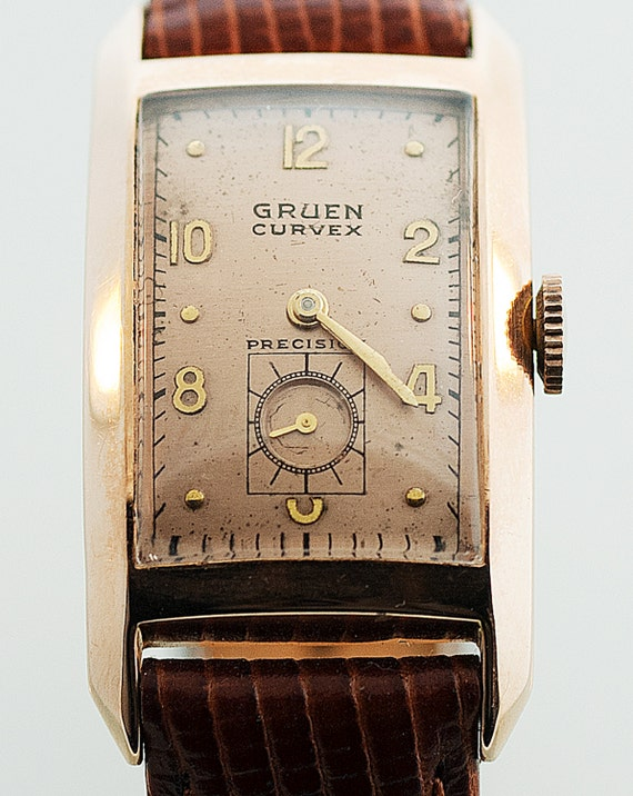 vintage watch vintage gruen curvex sovereign 14k rose gold. Black Bedroom Furniture Sets. Home Design Ideas