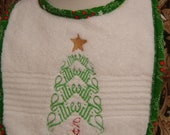 Mirror Name Christmas Bibs, Quilted Cotton front, cotton back