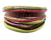 Soft Leather Multicolour Ropes Women Leather Bracelet Women Wrap Cuff Bracelet 278S