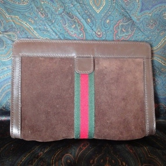 Vintage Gucci Accessary Collection Brown Suede Toilet Clutch