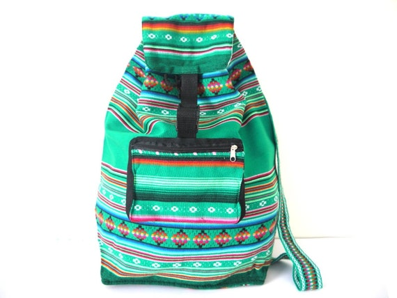 Tribal Fabric Backpack, Latin American, Peru, Green Stripes