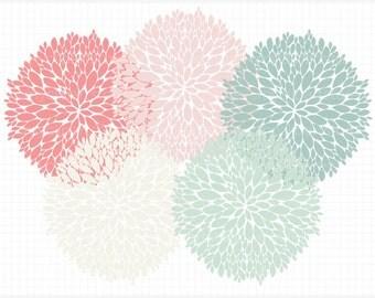 Clipart - Dahlia Flowers (Petals) Silhouette - Digital Clip Art (Instant Download)