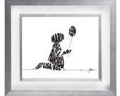 Girl with Balloon - Custom Personalized Newborn Print UNFRAMED