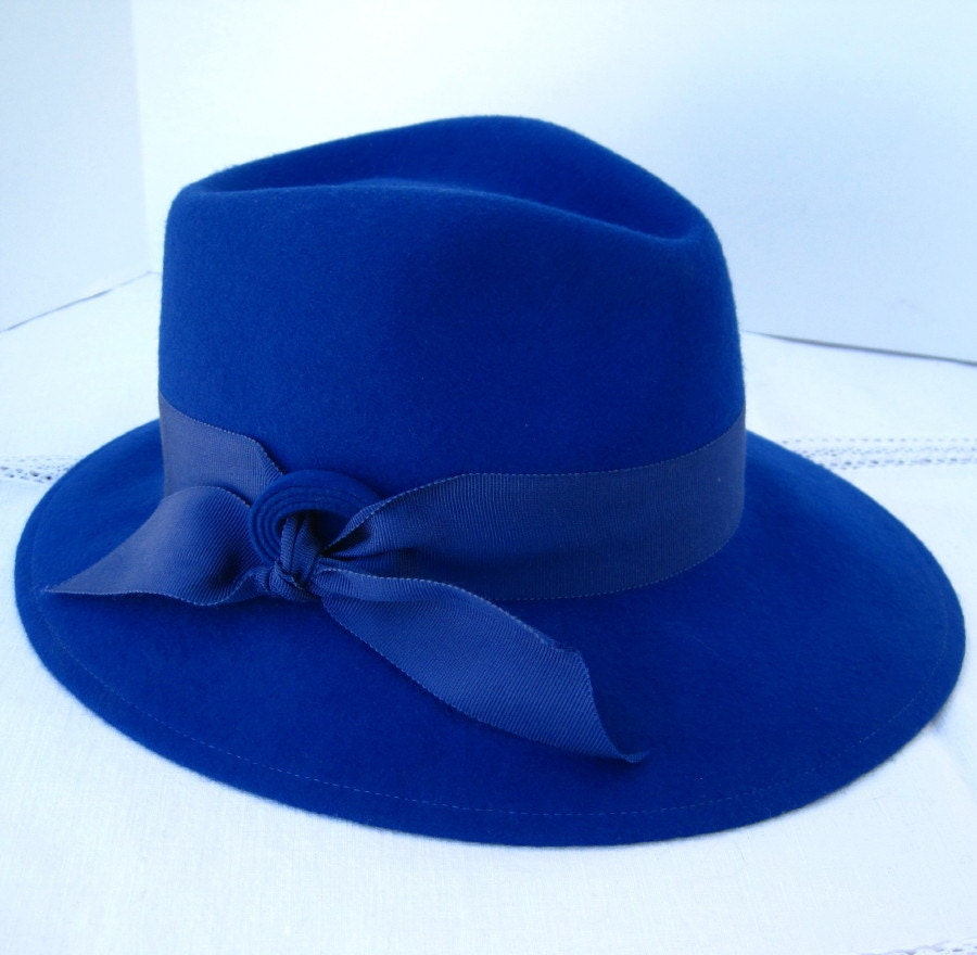 Vintage Royal Blue Fedora Style Wool Felt Hat