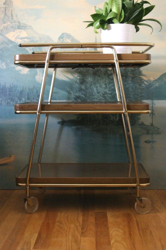 vintage mid century modern cosco 3 tier bar cart. Black Bedroom Furniture Sets. Home Design Ideas