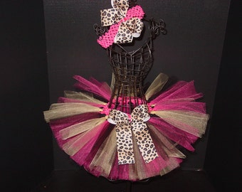 Leopard Cheetah & Pink TuTu Skirt and Headband SET Newborn to 6 Months Baby Infant
