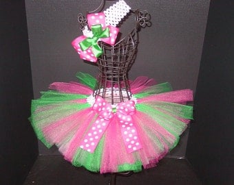 TuTu Skirt and Headband Two Piece Set Newborn to 6 Months Baby Infant CUSTOM Hot Pink & Green Bows