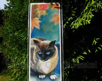 Siamese Cat Christmas Ornament - Christmas Tree Ornament - Siamese Cat Under Maple