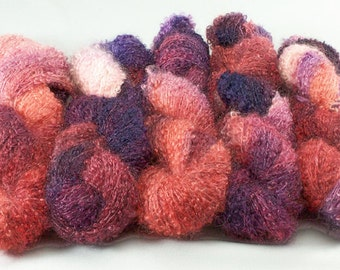 Hand Dyed Mohair Wool Loop Yarn Magenta Purple Orange Salmon 2151