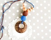 Nursing necklace with coconut ring pendant - Breastfeeding necklace mothers day gift under 25