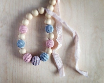 Crochet Nursing necklace by kangarusha romantic teething necklace with pink vintage lace in pale pink and silver grey
