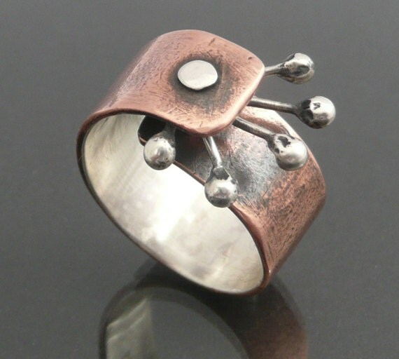 Ring,Cold  Connected, Copper, Sterling Silver, Size 8.5,