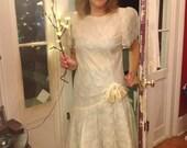 Vintage Wedding Dress (80s) size 12  ( Brand is  Maya Jornot for Michael Marcella)