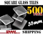 500 pcs. Square 35mm Clear Glass Tiles