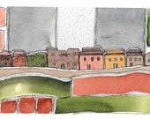 "Original Art,"" Village Facing South"" Watercolor Painting. OOAK"