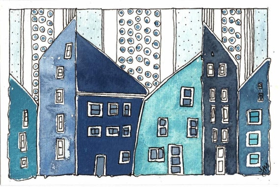 """RESERVED for Yvette Original Painting. """"Houses In Icy Rain"""" . Small Watercolor Painting. OOAK:"""