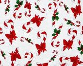 CANDY CANE CROWD on White by  Loralie Fabric