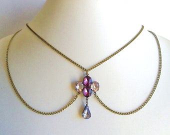 Jewelled Peter Pan Collar Necklace in Antique Bronze Burlesque Violet Rhinestone Vintage Style  chain