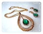Dramatic Doorknocker Pendant & Earrings - Green Teardrop Set  1811ag-030909000