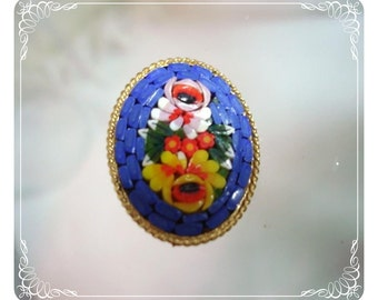 Blue Mosaic Flower Brooch   1342ag-012312000