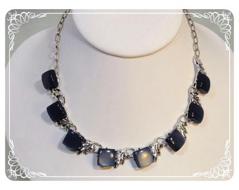 Moonglow Grey and Silver Leaf Lucite Necklace   1107a-120312000