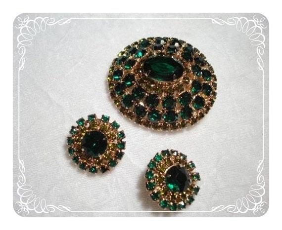 Green Dome Earrings & Brooch  Demi Set Eye Catching  1572ag-021410000