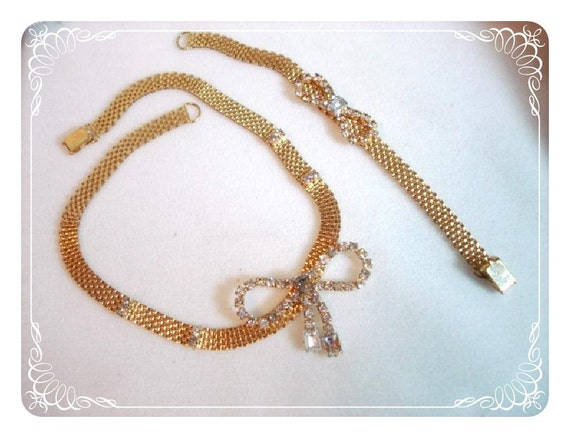 Mesh & Rhinestone Bow Necklace/Earring Set - Cute Gold Tone Demi Parure 1174ag-012312000