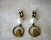BOXING DAY SALE Antique Gold Bronze Bird with Whitel Pearl Earrings