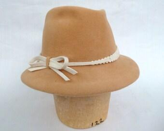 Handmade Womens Felt Fedora in Camel Velour Felt With Winter White Trim