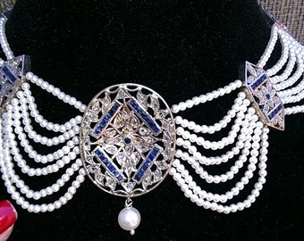 Sterling Silver Diamonds Sapphires  Pearl  Necklace
