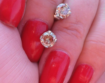 Gorgeous 1ct Champagne Diamonds  Studs WOW