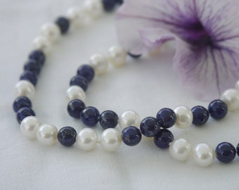 Pearl necklace real freshwater pearls lapislazuli white blue