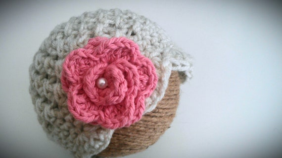 Baby Girl Hat, Crochet Baby Girl Hat Oatmeal with Pink Rose, Baby Girl Newborn Photo Prop