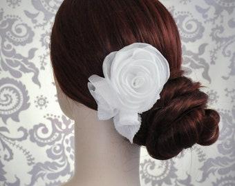 Silk Hair Flower, Bridal Flower Hair Clip, Headpiece, White, Ivory, Silk Roses, Bridesmaid Hair Flowers