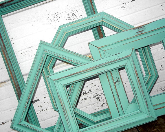 Five PICTURE FRAMES COLLECTION - Large Mixed set of 5 Distressed Rustic Vintage Aqua Mint Picture Frames