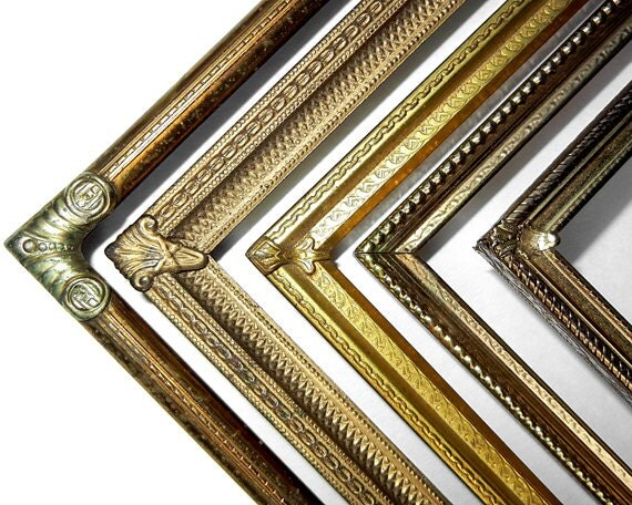 11x14 and 8x10 Gold Tone Metal Frames - Mixed set of  Beautiful Vintage Brass Yellow Bronze Copper and Gold Colored Metal Frames