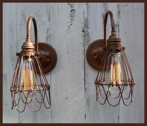 items similar to wire cage shoplight wall sconce on etsy. Black Bedroom Furniture Sets. Home Design Ideas