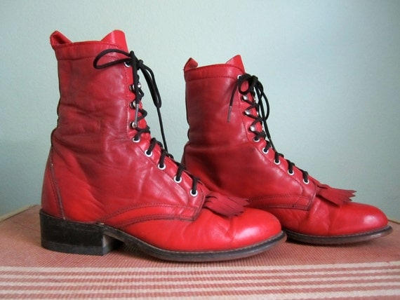 vintage red leather boots/ fringe toe boots/ lace up justin roper style shoes