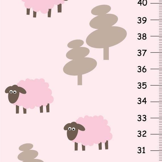 Girls Growth Chart Sweet Lamb Pink Nursery E10231018401386388m