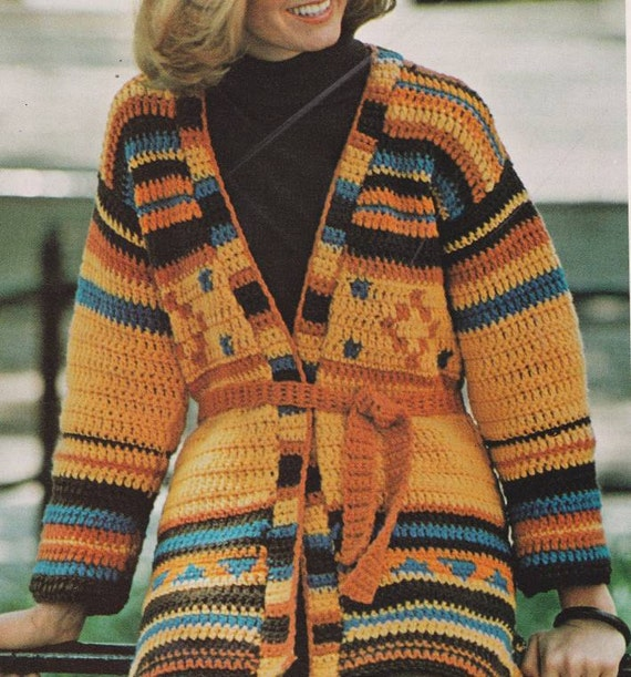 Items similar to Vintage Crochet Pattern Indian Jacket Sweater PDF on ...