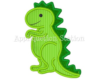 Dinosaur T-Rex Cute Boys Applique Machine Embroidery Design Pattern Green INSTANT DOWNLOAD