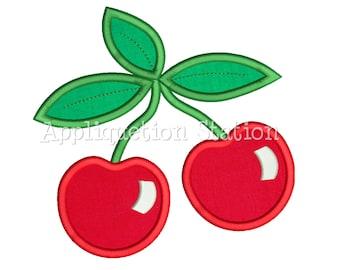 Cherries Applique Machine Embroidery Design Cherries Summer Red Cherry Fruit INSTANT DOWNLOAD