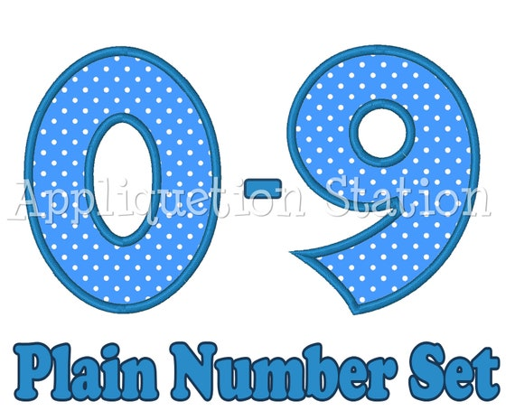 Plain Birthday Number Set Applique Machine Embroidery Design 1st first boy girl 0,1,2,3,4,5,6,7,8, AND 9 blue  INSTANT DOWNLOAD