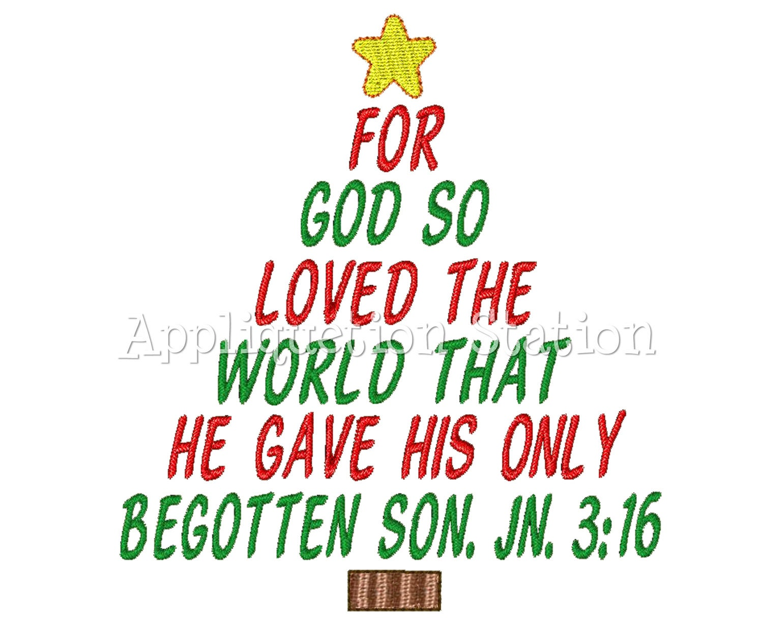 Christmas Tree John 3:16 Machine Embroidery Design Holiday Bible ...