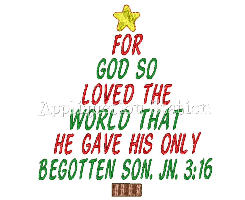 Christmas Tree John 3:16 Machine Embroidery Design Holiday Bible ...