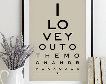 Wall Art Print Eye Chart - anniversary gift wedding shower quote art typography poster wall decor - To The Moon And Back